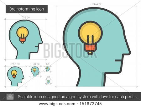 Brainstorming vector line icon isolated on white background. Brainstorming line icon for infographic, website or app. Scalable icon designed on a grid system.