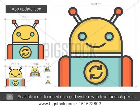 App update vector line icon isolated on white background. App update line icon for infographic, website or app. Scalable icon designed on a grid system.