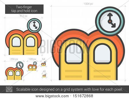 Two-finger tap and hold vector line icon isolated on white background. Two-finger tap and hold line icon for infographic, website or app. Scalable icon designed on a grid system.