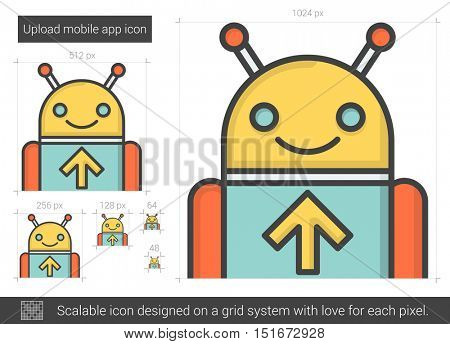 Upload mobile app vector line icon isolated on white background. Upload mobile app line icon for infographic, website or app. Scalable icon designed on a grid system.