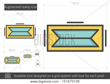 Augmented reality vector line icon isolated on white background. Augmented reality line icon for infographic, website or app. Scalable icon designed on a grid system.