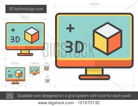 Three d technology vector line icon isolated on white background. Three d technology line icon for infographic, website or app. Scalable icon designed on a grid system.