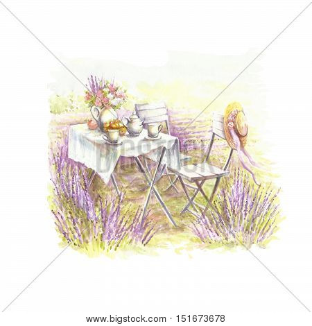 A romantic picture in the style of Provence. Watercolor illustration