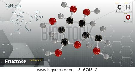 Illustration Of Fructose Molecule Isolated Gray Background