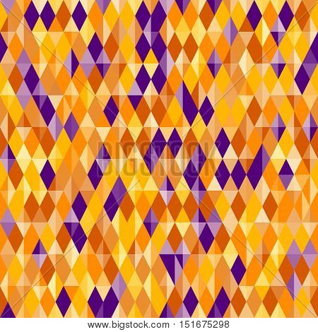 Abstract geometric pattern diamond shapes. Traditional colors for Halloween background - yellow orange and purple. Halloween vector background. Seamless vector Halloween pattern.