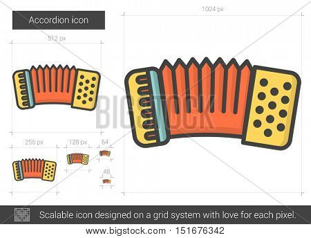 Accordion vector line icon isolated on white background. Accordion line icon for infographic, website or app. Scalable icon designed on a grid system.