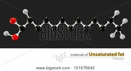 3d Illustration of unsaturated fat Molecule isolated black background