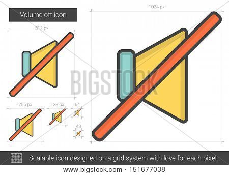 Volume off vector line icon isolated on white background. Volume off line icon for infographic, website or app. Scalable icon designed on a grid system.