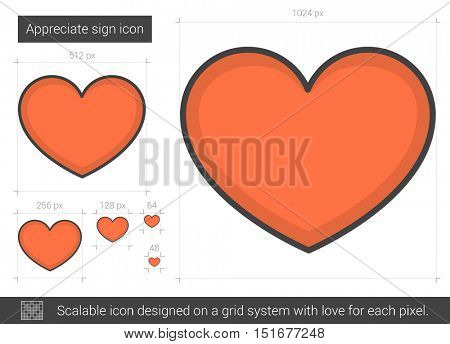 Appreciate sign vector line icon isolated on white background. Appreciate sign line icon for infographic, website or app. Scalable icon designed on a grid system.