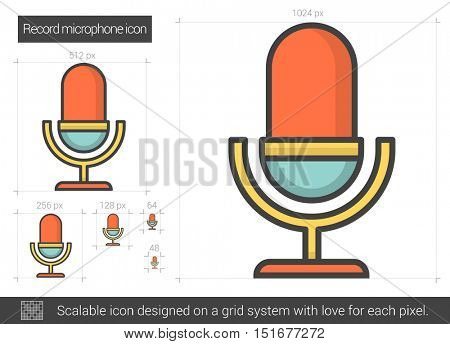 Record microphone vector line icon isolated on white background. Record microphone line icon for infographic, website or app. Scalable icon designed on a grid system.