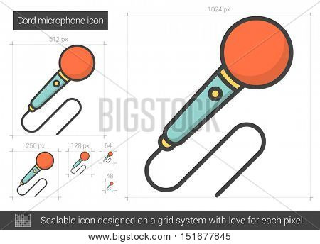 Cord microphone vector line icon isolated on white background. Cord microphone line icon for infographic, website or app. Scalable icon designed on a grid system.