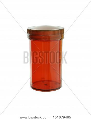 Brown Plastic Medicine Bottle isolated white background clipping paths