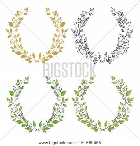 Set of wreaths. Isolated floral wreath. Cute design element for greeting card, wedding invitation.