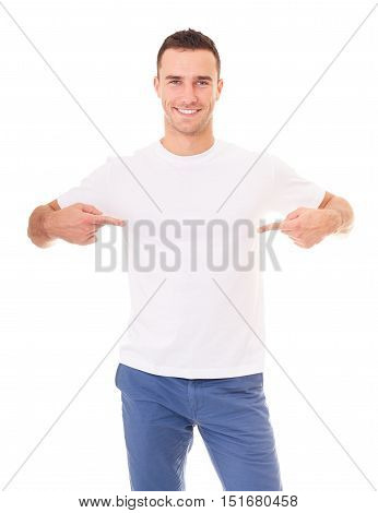 Handsome Man Showing Empty Copyspace On White T Shirt