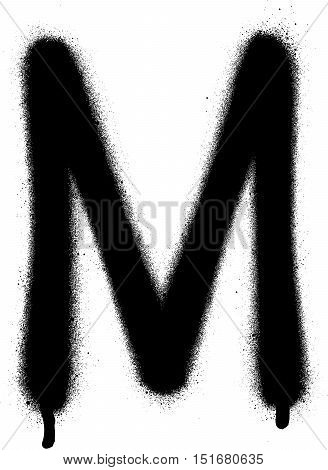 sprayed M font graffiti with leak in black over white