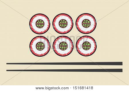 Sushi and chopsticks vector illustration. Traditional japanese food in restaurant