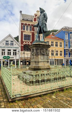 BERGEN, NORWAY - JULY 3, 2016: This monument is dedicated to the talented Norwegian writer and playwright Ludvig Holberg.