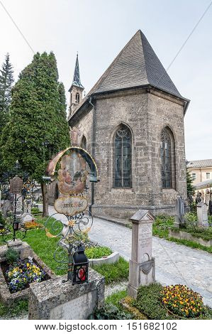 Salzburg Austria - April 29 2015: St. Peter Cemetery. Salzburg is renowned for its baroque architecture and was the birthplace of Mozart. It is an Unesco World Heritage Site.