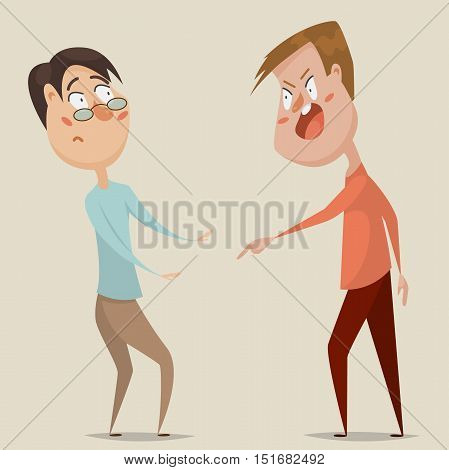 Aggressive man threats and shouts on frightened man in anger. Emotional concept of aggression, tyranny and despotism. Cartoon characters. Vector illustration poster