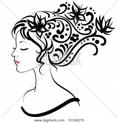 Spring Floral Girl, Vector Illustration
