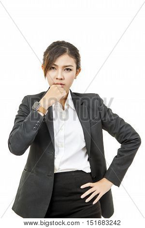 Asian Modern business woman isolate white background