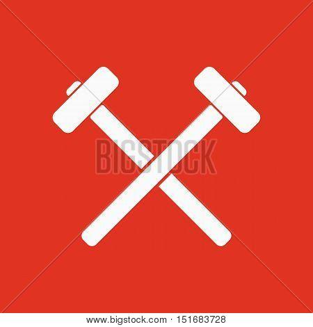 The hammer icon. Sledgehammer symbol. Flat Vector illustration