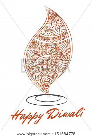 Vector abstract oil lit lamp with henna patterns. Illustration for indian festival of lights Happy Diwali celebration. Stock design on white background.