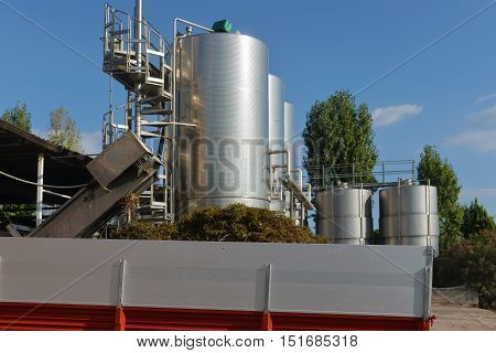 stainless tanks with wine at the winery