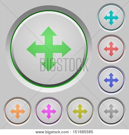 Set of color move arrows sunk push buttons.