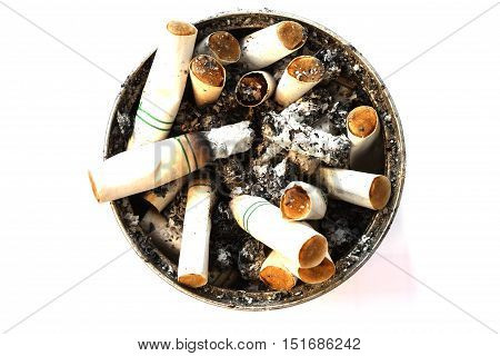 Cigarette butts discarded on sand basket isolate on white background.