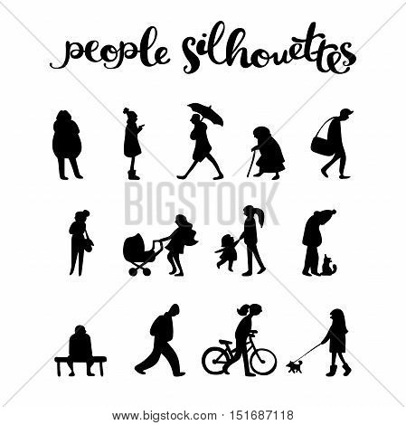 People silhouettes. Isolated objects on white background.