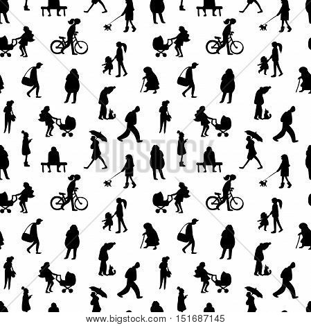 People silhouettes. Seamless vector pattern (background). White background.