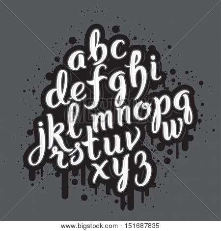 Hand drawn graffiti alphabet. Brush pen letters. Handwritten script font. Hand lettering custom typography with paint flows and blots