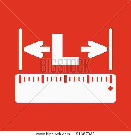 The length icon. Longitude, yardage, lgth symbol Flat Vector illustration