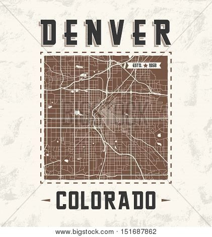 Colorado Vintage T-shirt Graphic Design With Denver City Map. Tee Shirt Print, Typography, Label, Ba