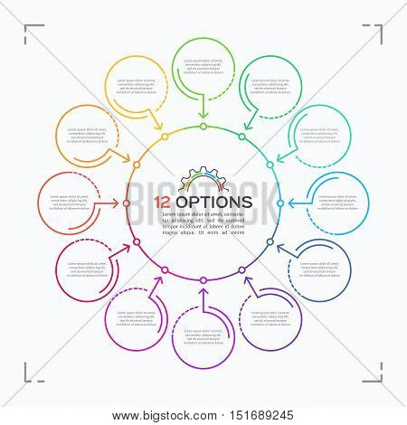Minimal Style Circle Infographic Template With 12 Options