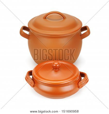 set of clay pots isolated on a white background