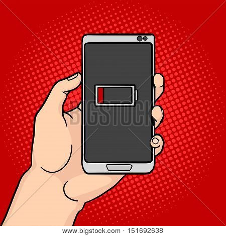 Hand hold discharged phone pop art style vector illustration