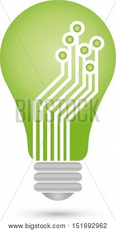 Lamp and chip, circuit board, Green IT logo
