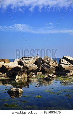 Black sea coast near old town Nessebar, Bulgaria