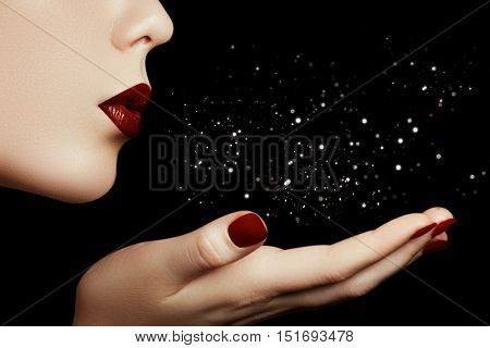 Beautiful Young Woman Blowing A Kiss From Her Hand. Model With P