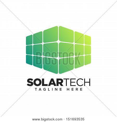 Home Solar Panel, Renewable Energy Technology Logo