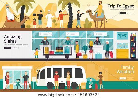 Trip To Egypt Amazing Sights Family Vacation flat tourism interior outdoor concept web. Career Chart Fun