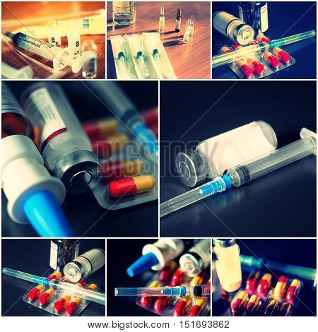 Collage of medical items. Ampules, pills, syringe set of toned images, selective focus.