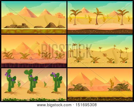 Cartoon nature sand desert landscape Set with palms, Cactuses, herbs and mountains. Vector Illustration for your application , project.
