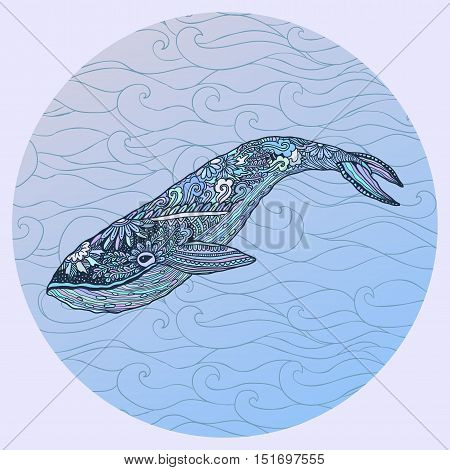 Large multicolored whale on a blue water background. An adult whale painted by hand in the art of different strokes, curls. Whale zentangle style. Vector. The sad whale. Most sea, ocean fish, mammals.