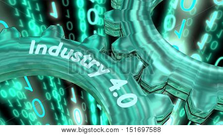 Two reflecting gears with the glowing word industry 4.0 on a digital stream background 3D illustration