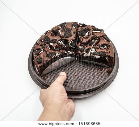 Hand Hole Chocolate Cake In Plate