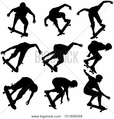 Set ilhouettes a skateboarder performs jumping. Vector illustration.