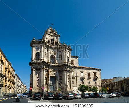 The Church Of San Placido In Catania, Sicily, Italy.